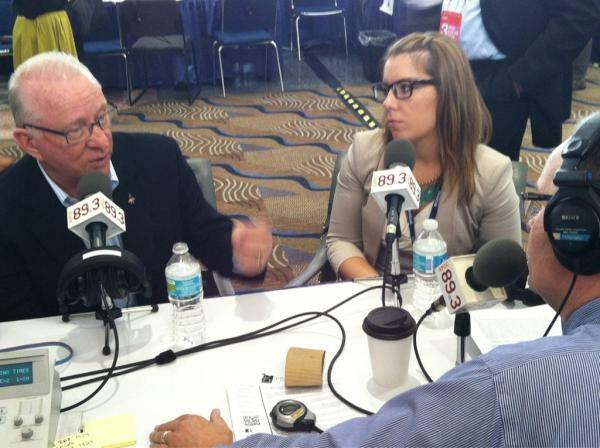 Larry talking to Congressman Buck McKeon and Mattie Duppler about defense spending.