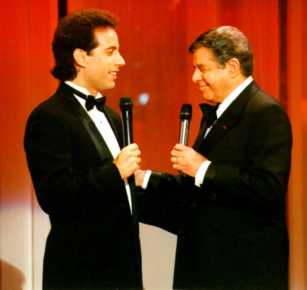 Comedians Jerry Seinfeld and Jerry Lewis.