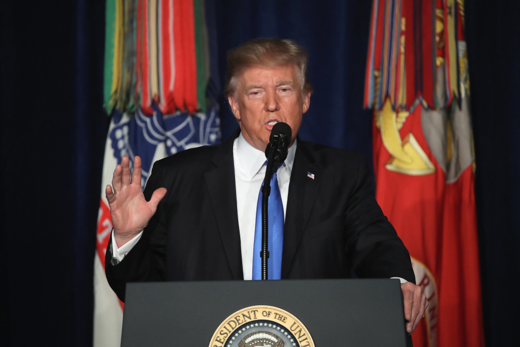 U.S. President Donald Trump delivers remarks on Americas military involvement in Afghanistan at the Fort Myer military base on August 21, 2017 in Arlington, Virginia.