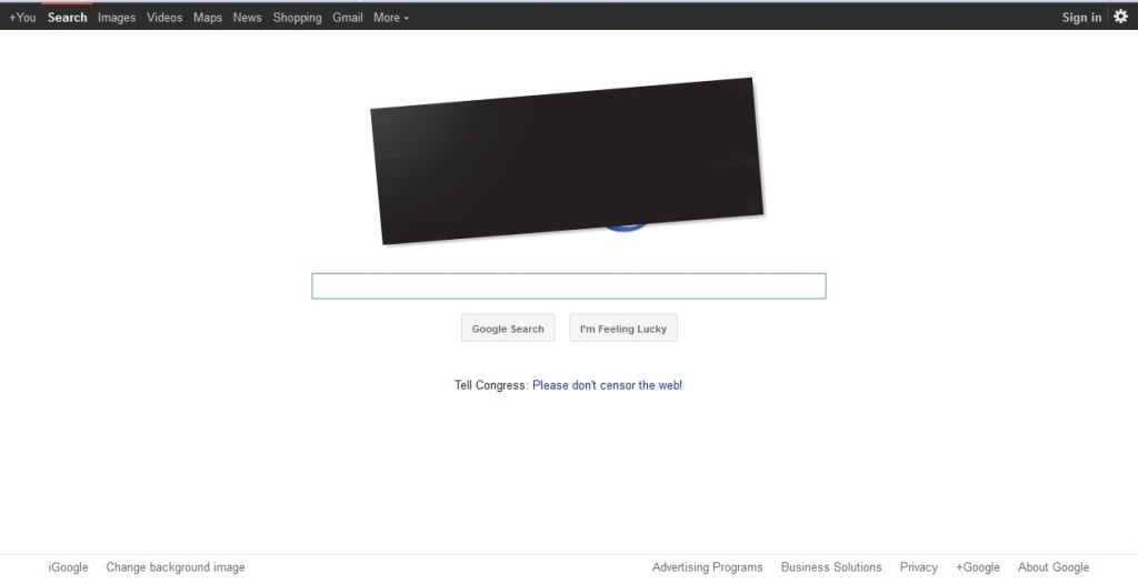 Google made changes to its homepage to support the SOPA/PIPA protest.