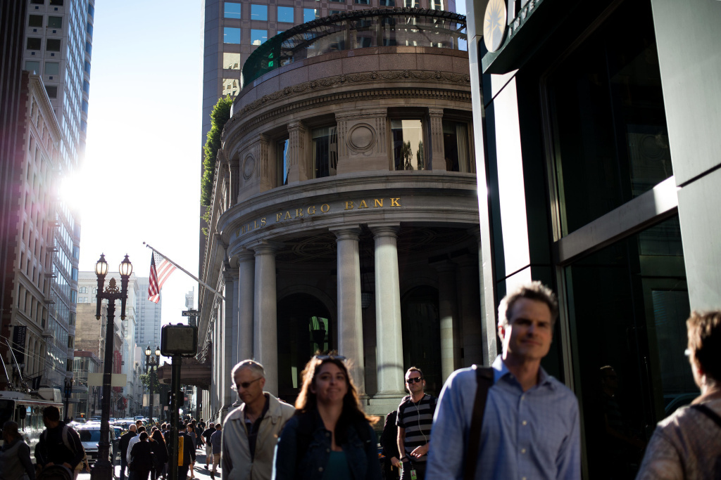 The Crocker branch of Wells Fargo on Montgomery Street in San Francisco, whose former employees say the sales pressure was intense and the deceptive practices widespread.