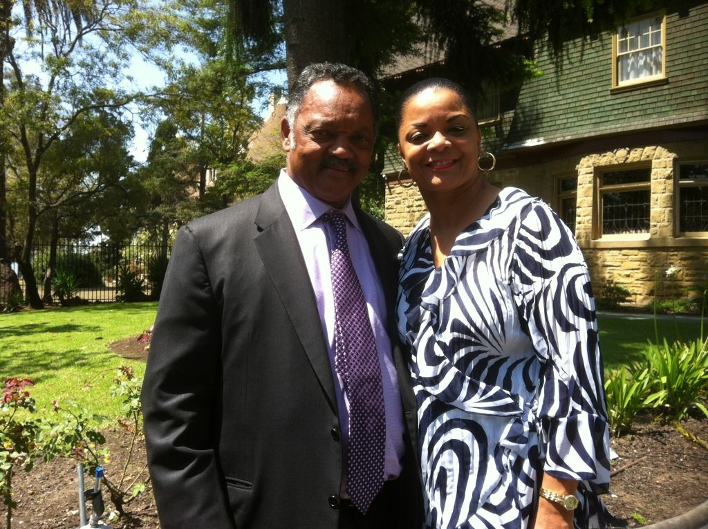 Rev. Jesse Jackson joins Rev. Rosalynn Kyle Brookins at a public viewing at Allen House Chapel in Los Angeles of her late husband, Bishop H.H. Brookins.