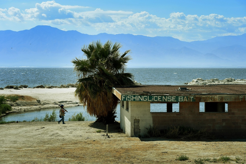 An abandoned fishing business is seen next to the North Shore Yacht Club at the Salton Sea, California. California's largest lake is facing major environmental problems with a decreasing water level, increasing salinity and algae issues.