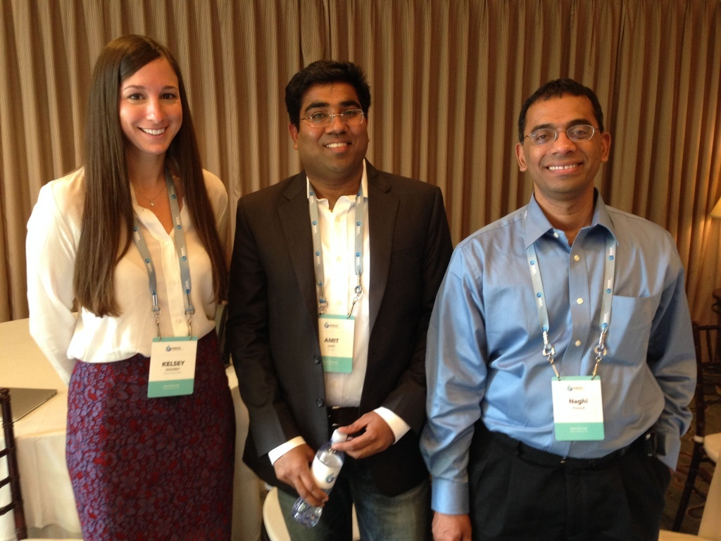 Three of the entrepreneurs vying for capital at the OASIS Summit; From left to right: Vow to be Chic's Kelsey Doorey, Bridg's Amit Jain, and Deep Forest Media's Naghi Prasad.