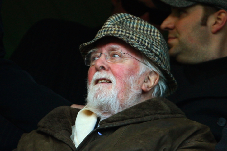 Sir Richard Attenborough watches the action during the Barclays Premier League match between Chelsea and Everton at Stamford Bridge on Dec. 12, 2009, in London.