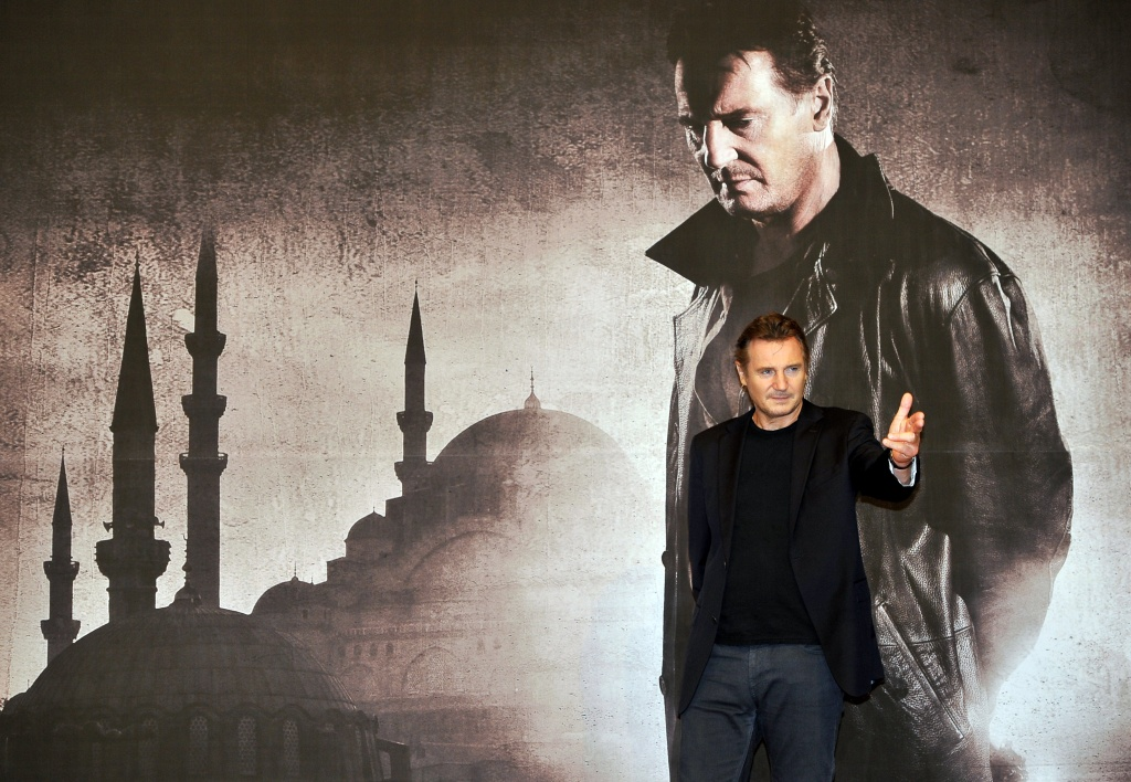 Actor Liam Neeson poses for a photo before a press conference to promote his film 'Taken 2' in Seoul