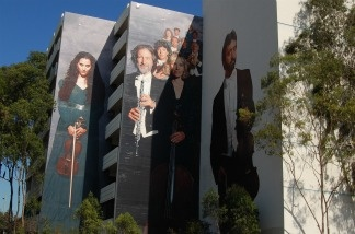 The murals outside of the Los Angeles Chamber Orchestra.