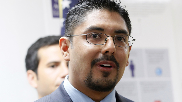 Sergio Garcia speaks at The Coalition for Humane Immigrant Rights of Los Angeles (CHIRLA) news conference on Aug. 27. Garcia, 36, is a law school graduate who passed California's bar examination, but he's living in the United States illegally. California