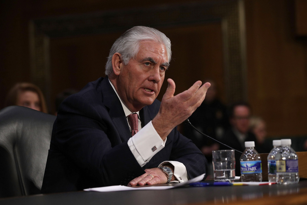 Former ExxonMobil CEO Rex Tillerson, U.S. President-elect Donald Trump's nominee for Secretary of State, testifies during his confirmation hearing before the Senate Foreign Relations Committee January 11, 2017 on Capitol Hill in Washington, DC.