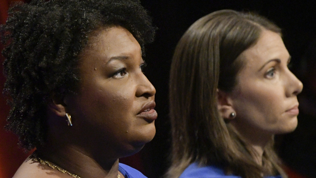 Georgia Democratic gubernatorial candidates and former state representatives Stacey Abrams and Stacey Evans participate in a debate earlier this month.