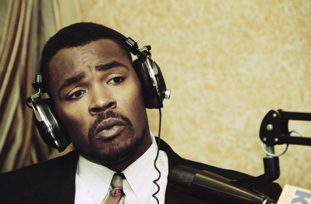 This July 20, 1993 file photo shows Rodney King speaking during an appearance on KFI-AM radio's