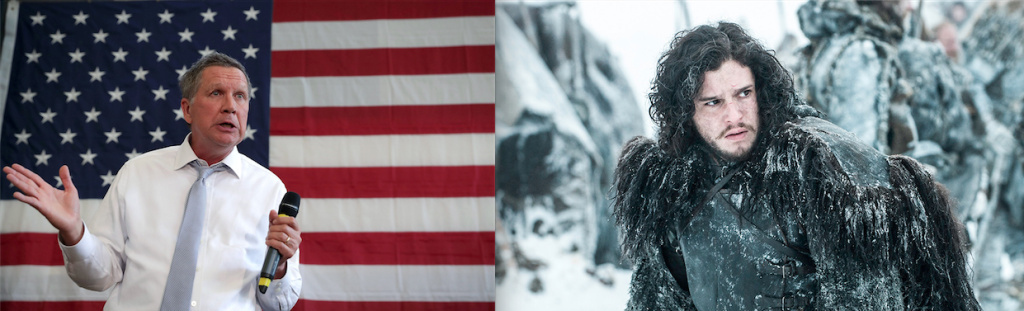 Professor Stephen Dyson compares presidential candidate John Kasich to Game of Thrones character Jon Snow.