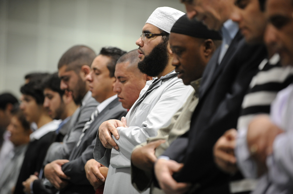 Muslims participate in the Eid al-Fitr prayers on September 10, 2010 at the Los Angeles Convention Center in downtown Los Angeles. Eid al-Fitr marks the day when Muslims worldwide celebrate the end of the fasting month of Ramadan.