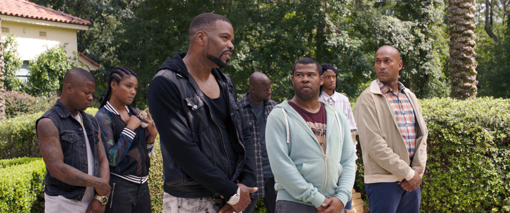 "(L-r) JASON MITCHELL as Bud, TIFFANY HADDISH as Hi-C, METHOD MAN as Cheddar, Jamar Malachi Neighbors as Stitches, JORDAN PEELE as Rell, DARRELL BRITT-GIBSON as Trunk and KEEGAN-MICHAEL KEY as Clarence in New Line Cinema's action comedy ""KEANU,"" a Warner Bros. Pictures release. Courtesy of Warner Bros. Pictures"