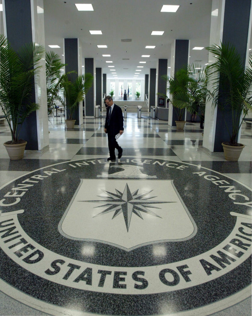 The CIA symbol is shown on the floor of CIA Headquarters, July 9, 2004 at CIA headquarters in Langley, Virginia.