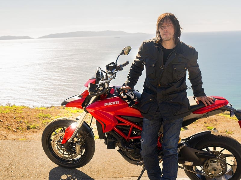 Norman Reedus takes a break along the Pacific Coast Highway while filming his new AMC TV series, Ride with Norman Reedus.