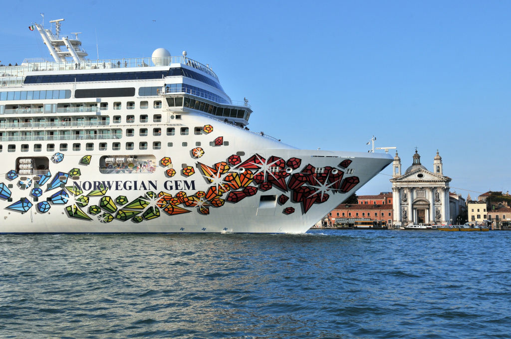 The Norwegian Gem cruise liner ship passes in front of St Mark's square in Venice's basin on February 10, 2010.