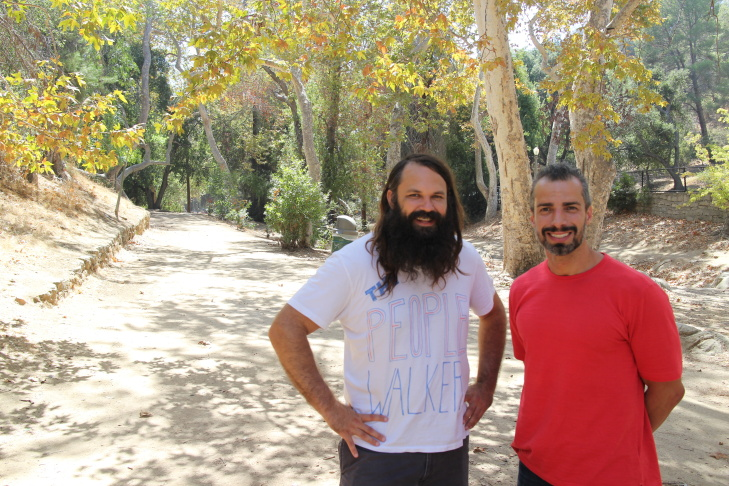 Chuck McCarthy, 'The People Walker,' with Take Two's A Martinez in Griffith Park.