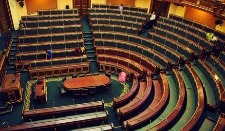 Workers clean inside the Egyptian parliament in Cairo on Monday, July 9, 2012.