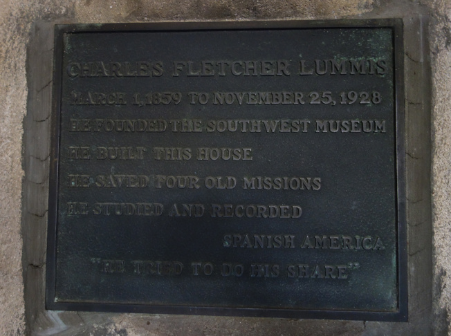 Lummis Home -- plaque