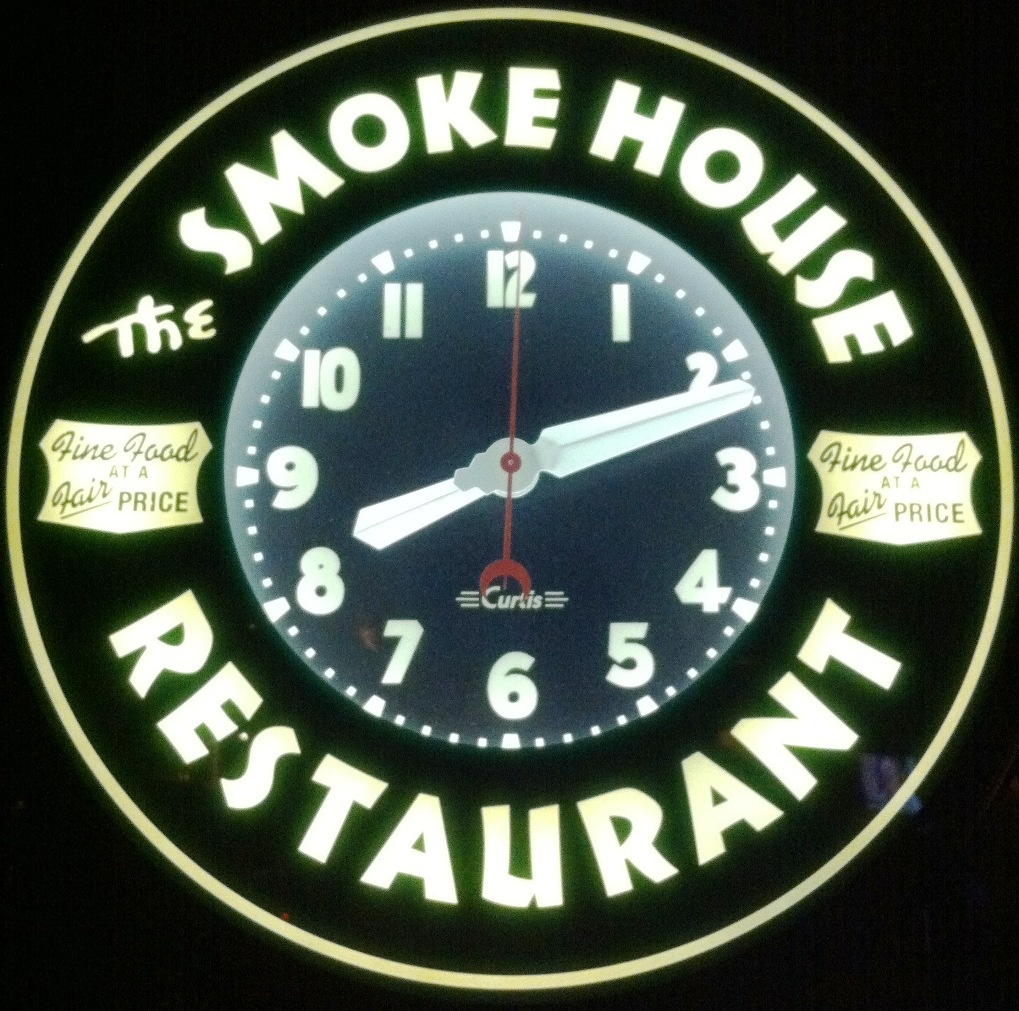 The clock at Burbank's iconic supper club, The Smokehouse