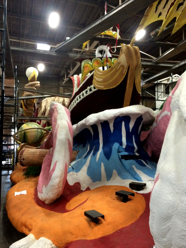 Animals are ready for the Lutheran Hour Ministries float at the Phoenix Decorating Company.