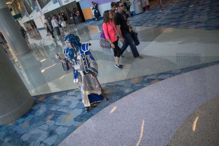Women dressed as characters from World of Warcraft walk the showroom floor of the Anaheim Convention Center during Blizzcon 2013.