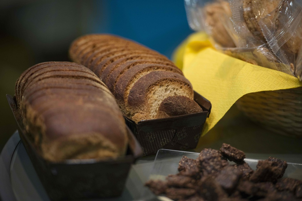 This photo taken on April 8, in Paris, shows gluten-free bread displayed during the