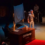 Comedian Chris Redd performs at KPCC's Off-Ramp Live 10th anniversary event