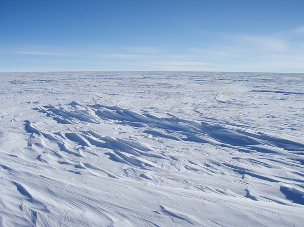 Sastrugi stick out from the snow surface in this photo near Plateau Station in East Antarctica. Most of Antartica looks quite flat, despite the subtle domes, hills, and hollows.