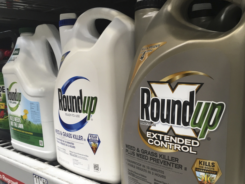 Containers of Roundup are displayed on a store shelf in San Francisco. A third California jury has awarded a multimillion-dollar court judgment against the herbicide.