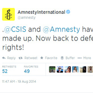 A screenshot of a tweet by Amnesty International, accepting an apology from the Center for Strategic and International Studies, a Washington think tank.