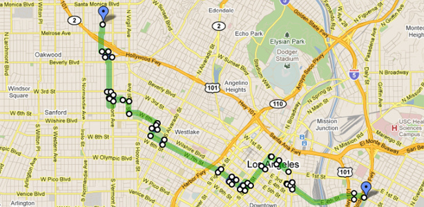 Route, street closures and car crossing points for the second CicLAvia