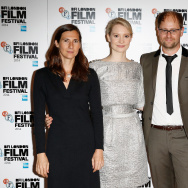 "Director Sophie Barthes, actor Mia Wasikowska, producer Joe Neurauter and actor Laura Carmichael attend the red carpet arrivals of ""Madame Bovary"" during the 58th BFI London Film Festival at Odeon West End on October 11, 2014 in London, England."
