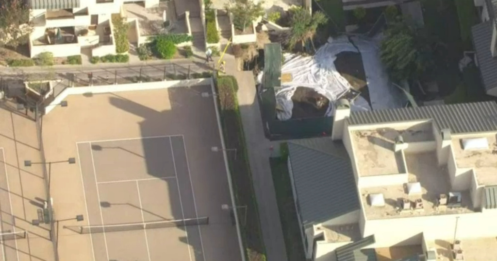 Aerial footage from NBC4 shows a parking structure that partially collapsed in a Century City residential area on Friday, July 25, 2014.