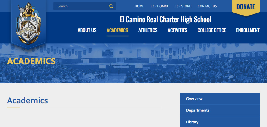 A screen shot of El Camino Real Charter High School's website