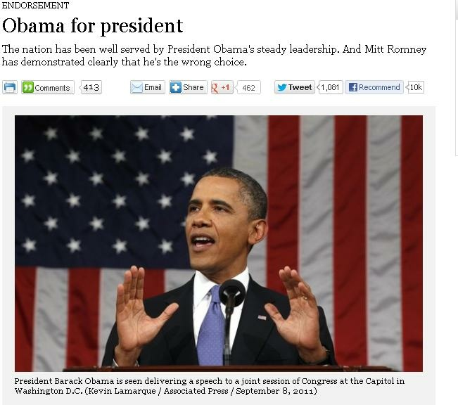 A screen shot of a Los Angeles Times endorsement headline