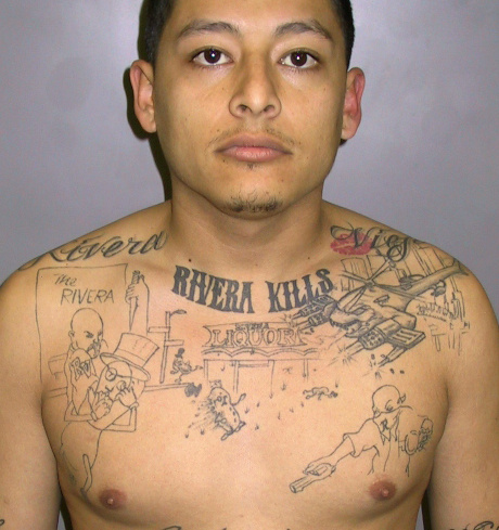File: In this undated photo released by the L.A. County Sheriff's Dept. Anthony Garcia is shown. Garcia, 22, was convicted Wednesday, April 20, 2011, of first-degree murder and shooting at an occupied vehicle. Garcia a Southern California gang member who had a murder storyboard tattooed on his chest was convicted for killing a gang rival. The tattoo detailed the shooting of 23-year-old John Juarez in Pico Rivera on Jan. 23, 2004.