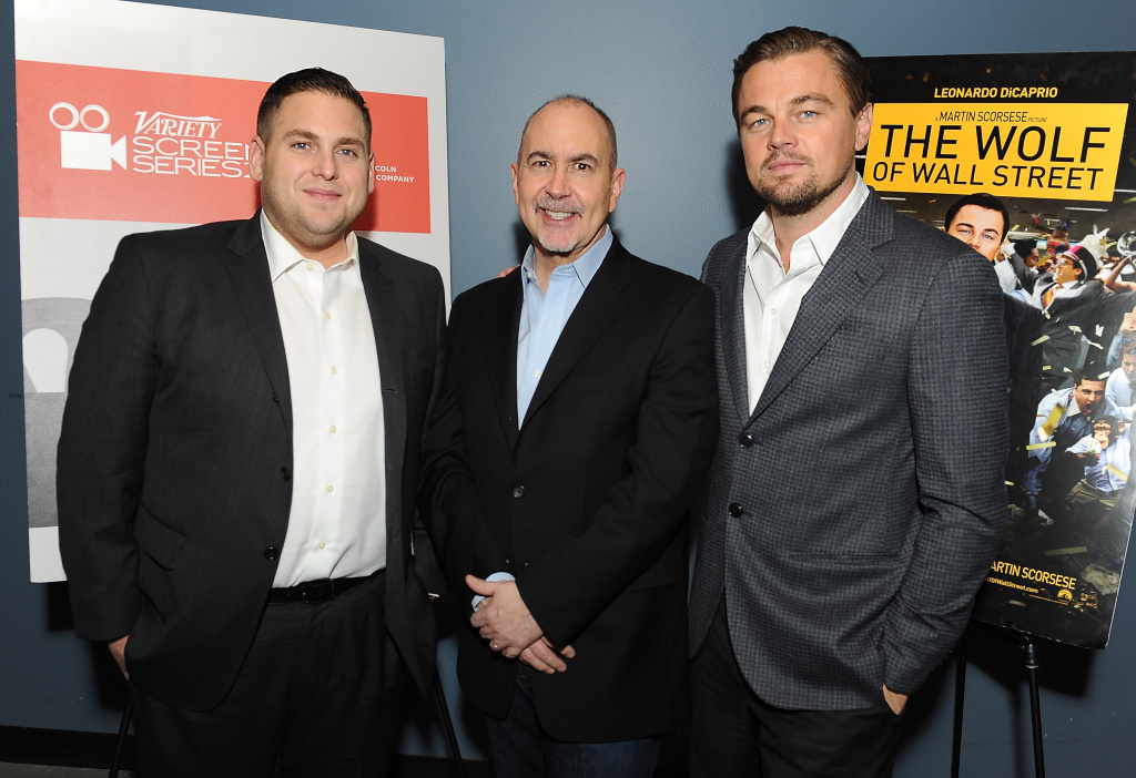 Actor Jonah Hill, writer Terence Winter and actor Leonardo DiCaprio attend the 2014 Variety Screening Series of 'The Wolf of Wall Street' at ArcLight Hollywood on February 10, 2014 in Hollywood, California.