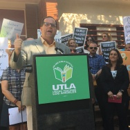 United Teachers Los Angeles president Alex Caputo-Pearl, left, speaks during a teachers union event in support of charter school oversight legislation as union-endorsed L.A. school board candidate Imelda Padilla, center, and Assemblyman Reggie Jones-Sawyer, right, look in.
