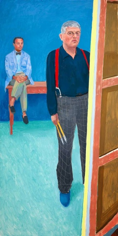 David Hockney, Self Portrait with Charlie, 2005. Oil on canvas, 72 x 36 in. Collection National Portrait Gallery, London, purchased with help from the proceeds of the 150th anniversary gala and Gift Aid visitor ticket donations, 2007, NPG 6819. © 2013 David Hockney. Photo: Richard Schmidt