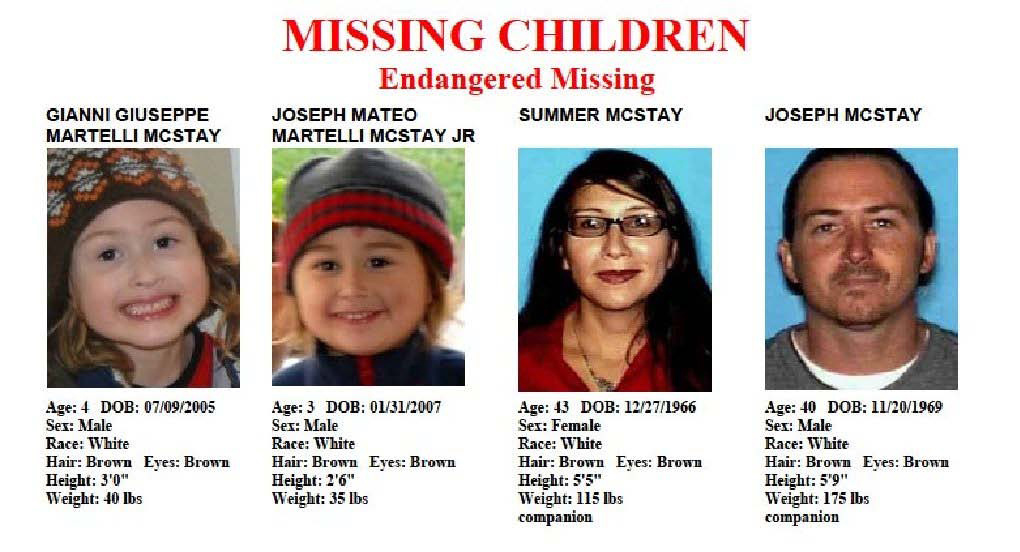 These file images provided by the San Diego Police Department show members of the McStay family, who disappeared from their Fallbrook home more than three years ago. Patrick McStay, Joseph McStay's father, told several news outlets Friday, Nov. 15, 2013, that he had been informed by investigators from the San Bernardino County Sheriff's Department that two of the four bodies discovered in shallow graves near Victorville were Joseph McStay and his wife, Summer McStay.