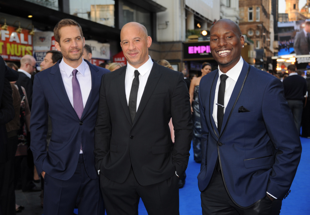 Actors Paul Walker, Vin Diesel and Tyrese Gibson attend the
