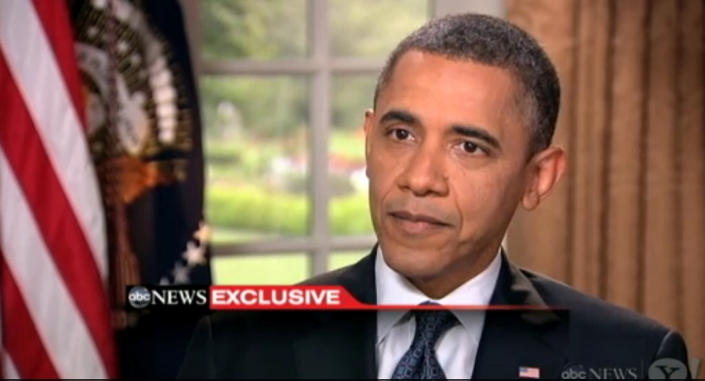A screen grab of President Obama as he announces his support of same sex marriage.