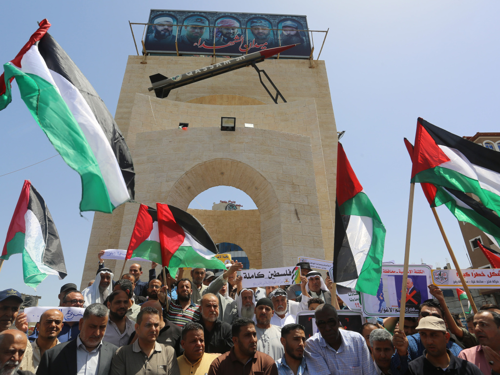 Palestinians demonstrate against Israel's annexation plans in Rafah, Gaza, on June 11. Palestinian leaders have begun refusing to coordinate with Israel on matters of daily Palestinian life, from tax collection to policing to medical treatments — a move some Palestinians see as self-defeating.