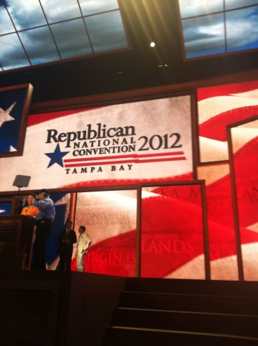 A view of the stage at the RNC.