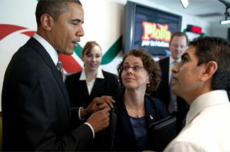 "President Barack Obama introduces Cecilia Munoz, Assistant to the President for Intergovernmental Affairs, to radio show host Eddie ""Piolin"" Sotelo at the Univision Radio building in Glendale, Calif., Oct. 22, 2010. The President taped an interview with Piolin, who has one of the top radio shows in the country."