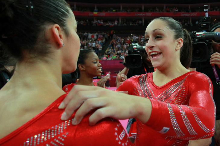 Alexandra Raisman, Jordyn Wieber, Mc Kayla Maroney and Kyla Ross of the United States celebrate during the final rotation in the Artistic Gymnastics Women's Team final on Day 4 of the London 2012 Olympic Games at North Greenwich Arena on July 31, 2012 in London, England.