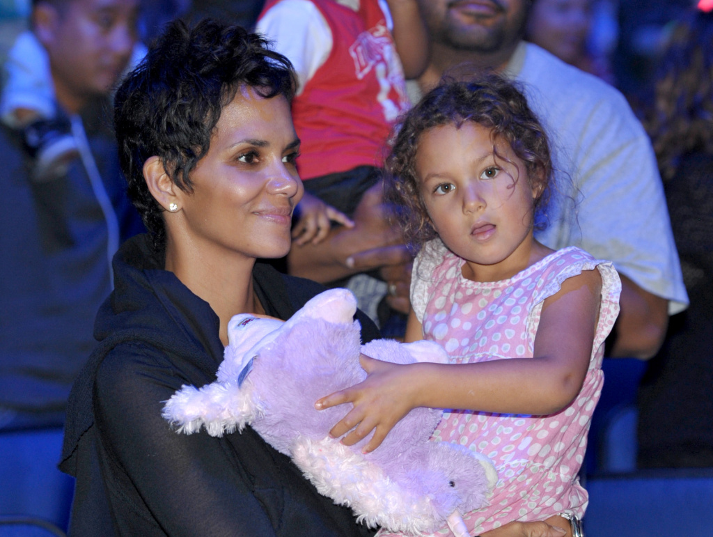 Halle Berry, left, and daughter Nahla Aubry attend Yo Gabba Gabba! Live!: Get The Sillies Out! 50+ city tour kick-off performance on Thanksgiving weekend at Nokia Theatre L.A. Live on Friday Nov. 23, 2012 in Los Angeles.