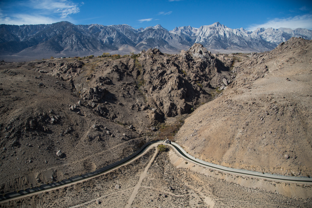The Los Angeles Aqueduct runs parallel to the Eastern Sierra mountains near Bishop, Calif. The 223 mile aqueduct goes through a series of concrete conduits, unlined channels, pipelines and tunnels to get to Los Angeles, Calif.